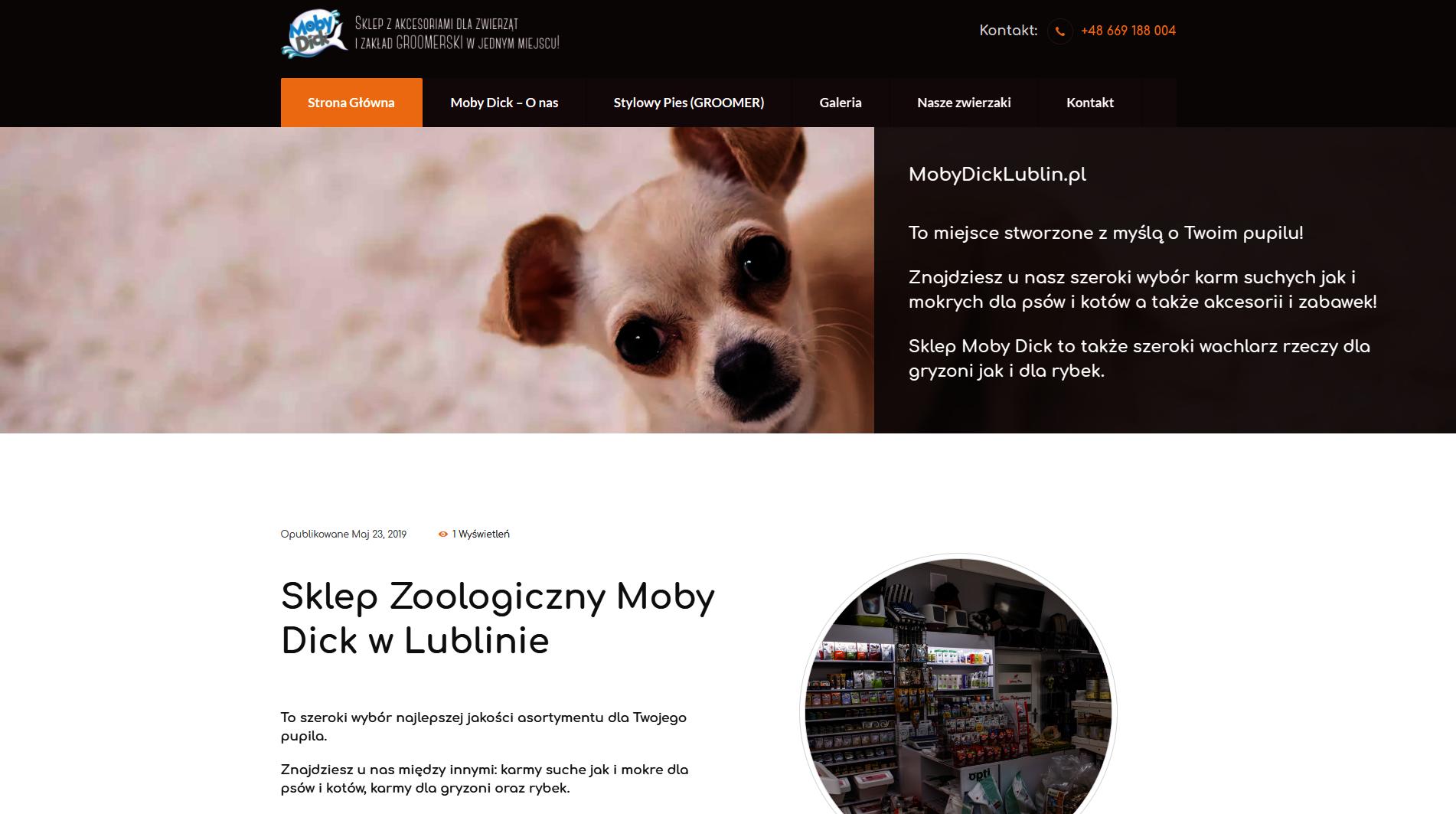 Strona www sklepu zoologicznego